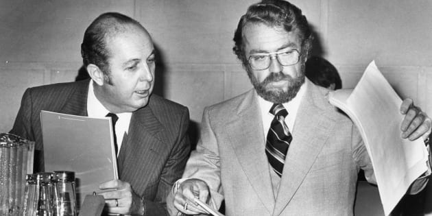 British Columbia's Minister of Consumer and Corporate Affairs Rafe Mair (right) and Melvin Smith, B.C.'s deputy minister for constitutional affairs, prepare to testify at the Joint Committee - Senate Constitutional Committee in Ottawa on Sept. 27, 1978.