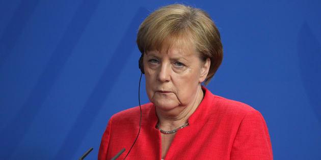 Angela Merkel durant sa conférence de presse avec Giuseppe Conte à Berlin le 18 juin 2018.