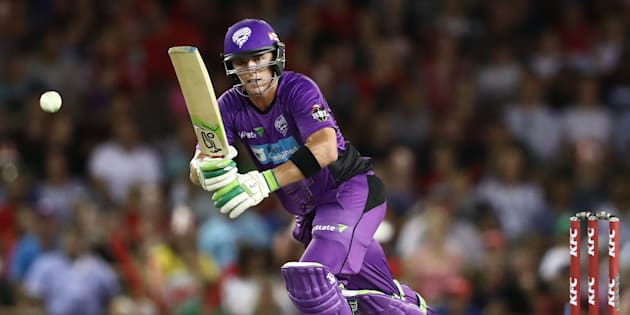 MELBOURNE, AUSTRALIA - JANUARY 12:  Ben McDermott of the Hurricanes bats during the Big Bash League match between the Melbourne Renegades and the Hobart Hurricanes at Etihad Stadium on January 12, 2017 in Melbourne, Australia.  (Photo by Scott Barbour/Getty Images)