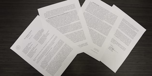A copy of Attorney General William Barr's letter to Congress regarding the conclusion of Special Counsel Robert Mueller's investigation is arranged for a photograph in Washington, D.C., U.S., on Sunday, March 23, 2019. Mueller made no conclusion on possible obstruction of justice by President Donald Trump but found no evidence of collusion with Russia, according to Barr. Photographer: Alex Wroblewski/Bloomberg via Getty Images