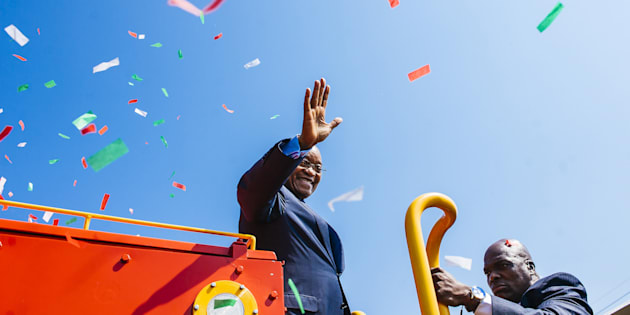 Jacob Zuma during the launch of a new trans Africa locomotive at the Transnet SOC Ltd. engineering site in Pretoria.