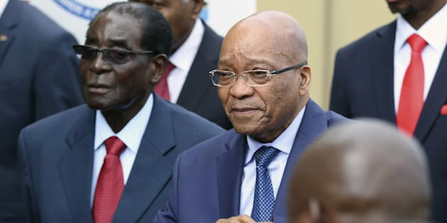 Zimbabwean President Robert Mugabe and South African President Jacob Zuma attend the summit of the Southern African Development Community (SADC) in Harare in 2015.