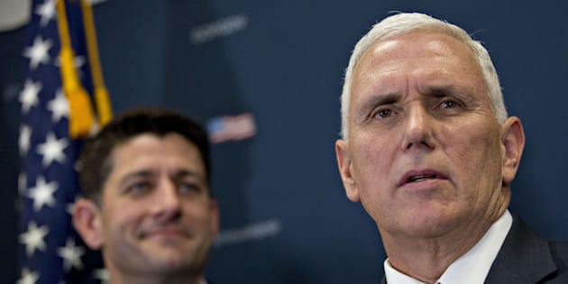 U.S. Vice President-elect Mike Pence speaks as U.S. House Speaker Paul Ryan, a Republican from Wisconsin, listens during a House Republican conference meeting on Capitol Hill in Washington, D.C., U.S., on Wednesday, Jan. 4, 2017. Pence promised an 'orderly transition' through executive and legislative action to repeal and replace Obamacare with a market-based health-care system.Photographer: Andrew Harrer/Bloomberg via Getty Images