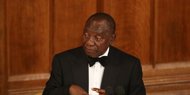 South Africa's President Cyril Ramaphosa speaks during the Commonwealth Business Forum Banquet at the Guildhall in London, Britain, April 17, 2018. REUTERS/Simon Dawson