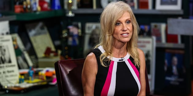 Kellyanne Conway, president and chief executive officer of Polling Co. Inc./Woman Trend, speaks during an interview on 'With All Due Respect' in New York, U.S., on Tuesday, July 5, 2016. Asked how Trump reassures conservatives about his positions on issues such as abortion without losing ground with voters in the center, Republican pollster Conway, one of Trump's new senior strategists, said he would work to shift the spotlight to Clinton. Photographer: Chris Goodney/Bloomberg via Getty Images