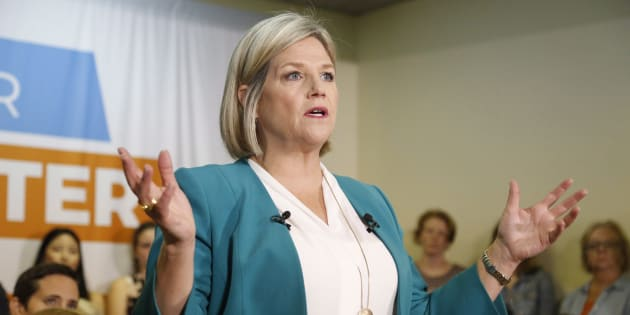 Ontario NDP Leader Andrea Horwath speaks at a campaign stop in Ottawa on May 20, 2018.
