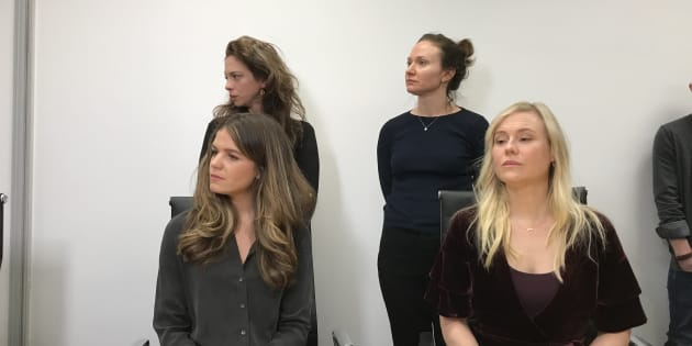 Plaintiffs, clockwise from top left, Hannah Miller, Patricia Fagan, Kristin Booth and Diana Bentley were present at a press conference held Thursday. They are seeking a total of $4.25 million in damages from Soulpepper and $3.6 million from Albert Schultz in their separate sexual assault claims.
