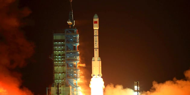 China's rocket carrying the Tiangong-1 module, or 'Heavenly Palace', blasts off from the Jiuquan launch center in Gansu province on Sept. 29, 2011.