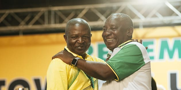 Cyril Ramaphosa and David Mabuza on stage during the ANC's 54th national conference.