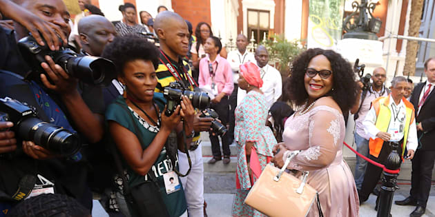 Then-Minister of Water and Sanitation Nomvula Mokonyane on the red carpet at the state of the nation address 2018 in Parliament on February 16, 2018.