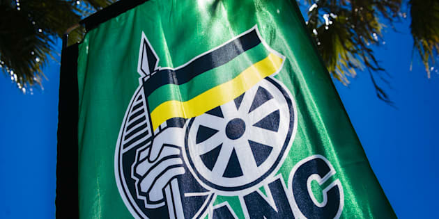 ANC signage sits on a banner during the 54th national conference of the African National Congress party (ANC) in Johannesburg, South Africa, on Saturday, Dec. 16, 2017.