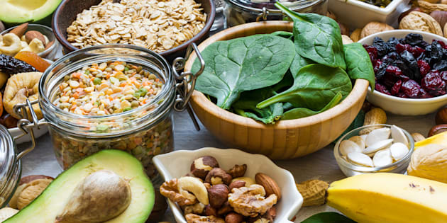 Products rich of potassium and magnesium. Bananas, spinach, nuts, grains, dried fruits, beans and avocado. healthy food