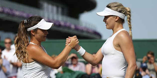 Eugenie Bouchard (droite) a éliminé Gabriella Taylor (gauche) au premier tour.