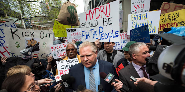 Ontario Progressive Conservative leader Doug Ford holds a rally to speak about Hydro One in Toronto on May 15, 2018.