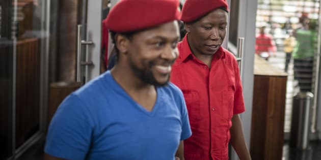 Economic Freedom Fighters (EFF) leaders Julius Malema and Mbuyiseni Ndlozi  outside the Constitutional Court to on March 30, 2017 in Johannesburg, South Africa.