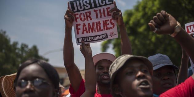Protests during the testimony of former Gauteng Health MEC Qedani Mahlangu at the Life Esidimeni arbitration hearings on January 22, 2018 in Johannesburg.