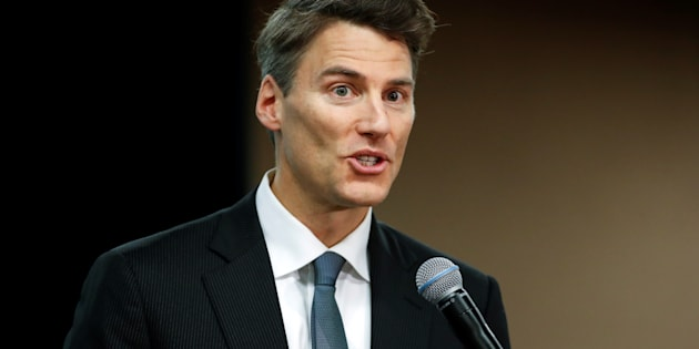Vancouver Mayor Gregor Robertson speaks during the North American Climate Summit in Chicago, Illinois, Dec. 5, 2017.