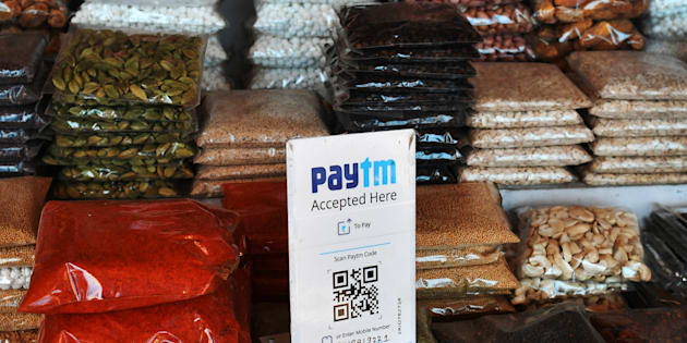A sign for the PayTM online payment method, operated by One97 Communications Ltd