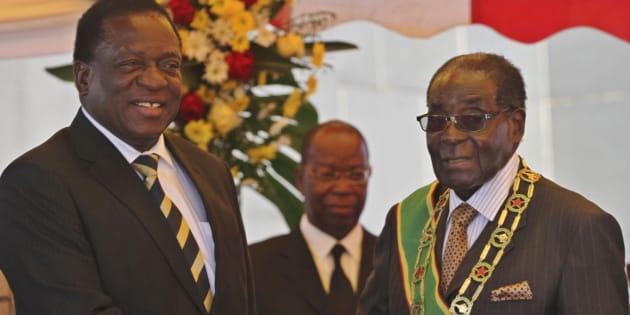 Zimbabwe's President Robert Mugabe and recently fired Vice-President Emmerson Mnangagwa.