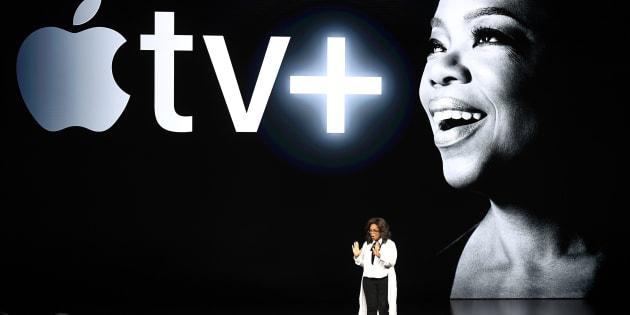 Oprah Winfrey présentant ses nouveaux projets avec Apple TV+, lundi.