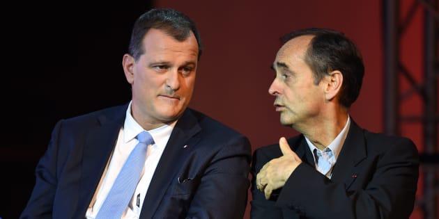 Le vice-président du FN Louis Aliot et le maire de Béziers Robert Ménard, en 2015 avant les élections régionales.