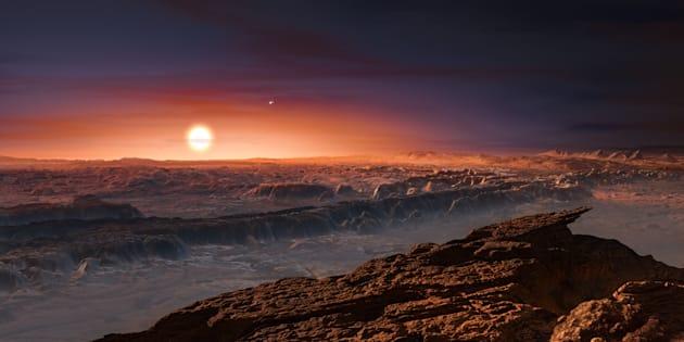 Une vue d'artiste de l'exoplanète la plus proche de la Terre jamais observée, Proxima b.