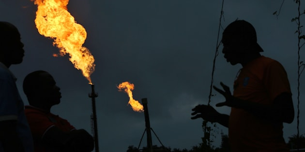 Gas flares burn from pipes at an oil flow station operated by Nigerian Agip Oil Co. Ltd., a division of Eni SpA, in Idu, Nigeria, in September. Nigeria was Africa's biggest oil producer before attacks shrunk production.