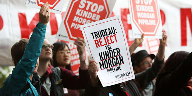 Demonstrators protest Kinder Morgan's Trans-Mountain pipeline expansion in Vancouver, B.C., Nov. 7, 2016. The suspension of construction on the pipeline is just one element of uncertainty in Canada's economy today.