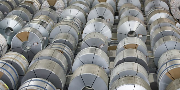 Rolls of steel sit in storage ahead of shipping from the Salzgitter AG plant in Salzgitter, Germany, on Thursday, March 22, 2018. The European Union believes it's on track to be exempted from imminent U.S. tariffs on foreign steel and aluminum, dialing down the risk of a trans-Atlantic trade war. Photographer: Alex Kraus/Bloomberg via Getty Images