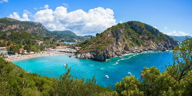 Beautiful Paleokastritsa beach on Corfu, Kerkyra, Greece. Panorama