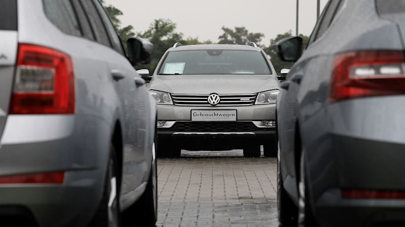used-volkswagen-passat-automobile-sits-on-the-forecourt-outside-a-ag-picture-id823376824