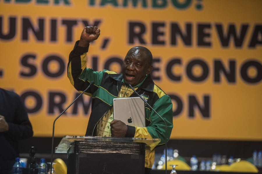 Deputy President Cyril Ramaphosa at the ANC's national conference last month.