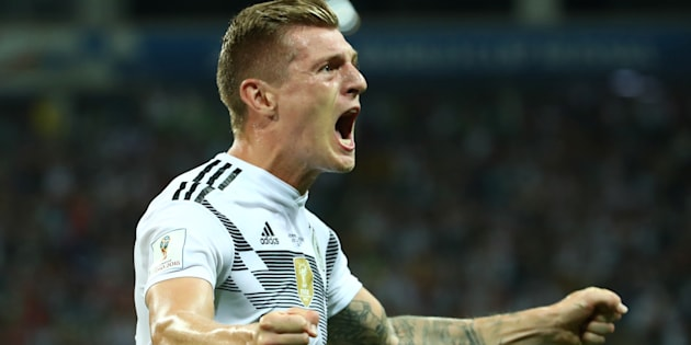 Toni Kroos célébrant son but contre la Suède à Sotchi le 23 juin 2018.
