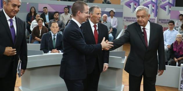 Jaime Rodríguez Calderón, Ricardo Anaya Cortés, José Antonio Meade y Andrés Manuel López Obrador, a su llegada al set donde se realizó el segundo debate presidencial realizado en la Universidad Autónoma de Baja California, el 20 de mayo de 2018.