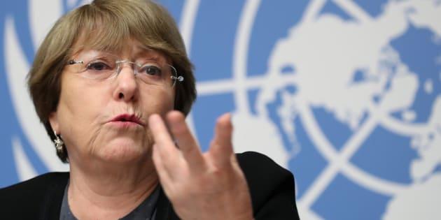 """""""Até agora não vimos nada ainda, foi só um anúncio, veremos o que acontece depois"""", disse a alta comissária das Nações Unidas para os Direitos Humanos, Michelle Bachelet."""