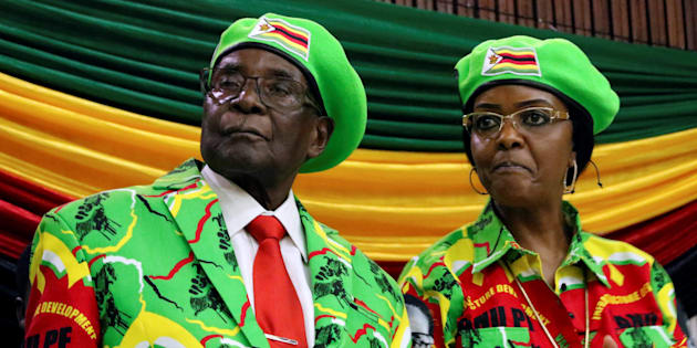 Zimbabwean President Robert Mugabe and his wife Grace attend a meeting of his ruling ZANU PF party's youth league in Harare, Zimbabwe, October 7, 2017.