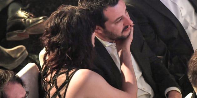 09/02/2018 Sanremo. 68 Festival della Canzone Italiana, quarta serata. Nella foto il leader della Lega Matteo Salvini con la compagna Elisa Isoardi