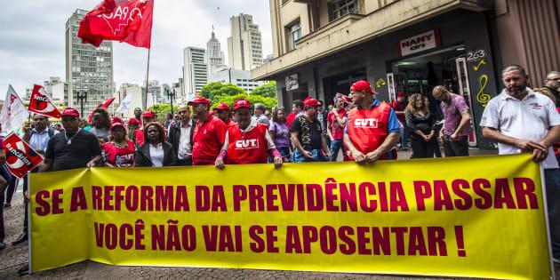 Protesto de sindicatos contra a reforma da Previdência em dezembro de 2017.
