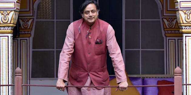 Congress MP Shashi Tharoor poses at the Jaipur Literature Fest 2017.