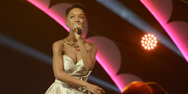 Nandi Madida during the crowning of Miss SA 2017 at the Sun City Superbowl on March 26.