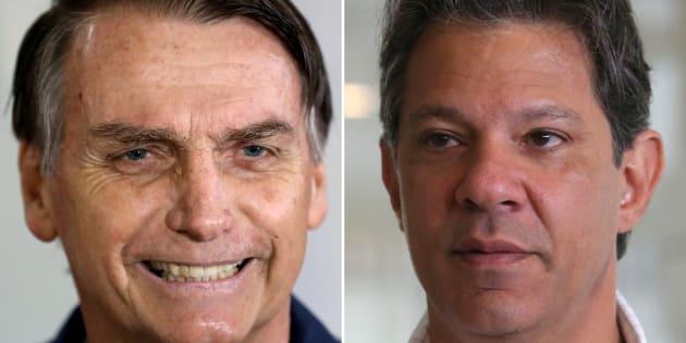 Jair Bolsonaro está na frente de Fernando Haddad na disputa pela Presidência da República, segundo o Ibope.