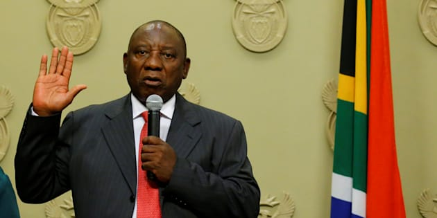 South Africa's President Cyril Ramaphosa is sworn in as president in Parliament.