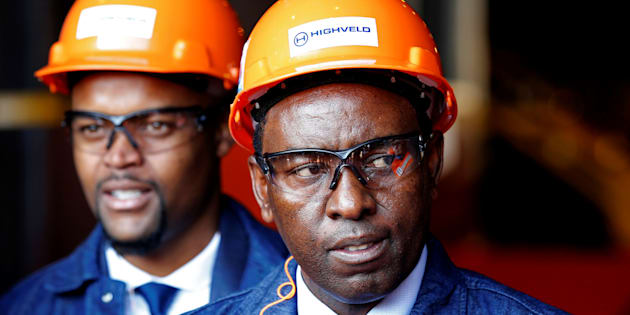 Mineral Resources Minister Mosebenzi Zwane looks on during the reopening of the Highveld Steel heavy structural mill at Emalahleni in Mpumalanga province, South Africa June 6, 2017.
