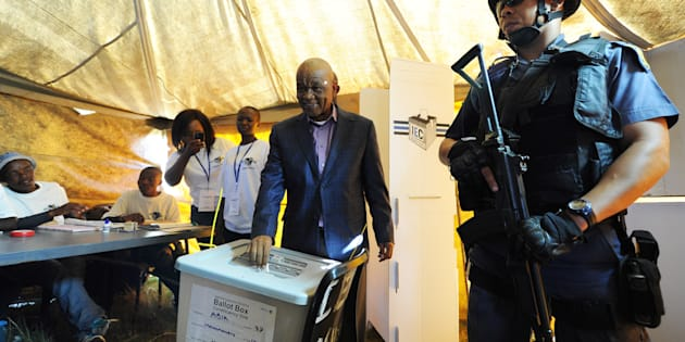 MASERU, LESOTHO - FEBRUARY 28: Prime minister Tom Thabane casts his vote in Ha Abia on February 28, 2015 in Maseru, Lesotho. The general elections took place on Saturday, March 1, 2015. (Photo by Gallo Images / Foto24 / Felix Dlangamandla)