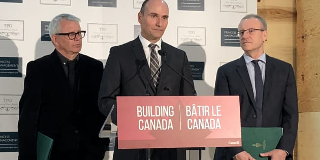 Minister Jean-Yves Duclos (centre), responsible for Canada Mortgage and Housing Corporation, announces the federal government has provided an $89 million loan for an affordable rental building in Toronto on March 14, 2019. Toronto MPs Adam Vaughan (left) and Borys Wrzesnewskyj joined him.