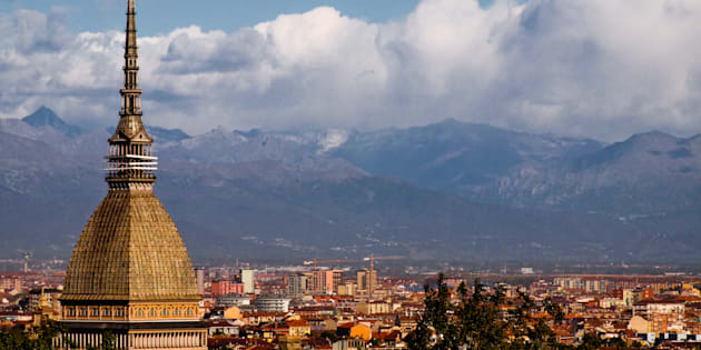 View of Torino with the Mole Antonelliana and the Alps