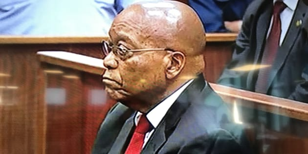 Former president Jacob Zuma in court on the morning of April 6 2018.