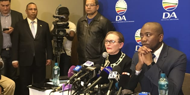 Helen Zille, Western Cape premier, and Mmusi Maimane, DA leader, at a press conference on Tuesday, 13 June 2017 in Johannesburg.