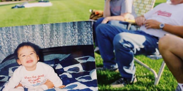 アメリカの叔父が「この頃から笑顔が変わってないね」とみせてくれた私の写真。1歳前の私が座っているのは、グランマが母へ結婚祝いに送ったアーミッシュキルトだ。