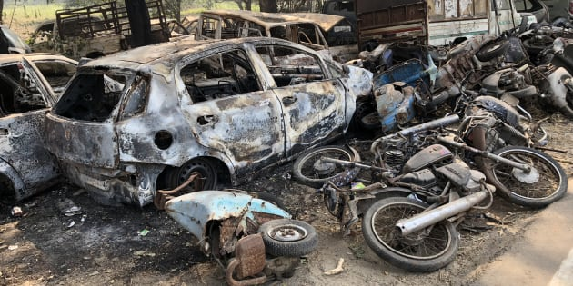 The vehicles torched by the angry mob near Chingravti police post in Bulandshahr